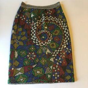 MISSONI Sequin Printed Wool Blend Skirt Sz.42